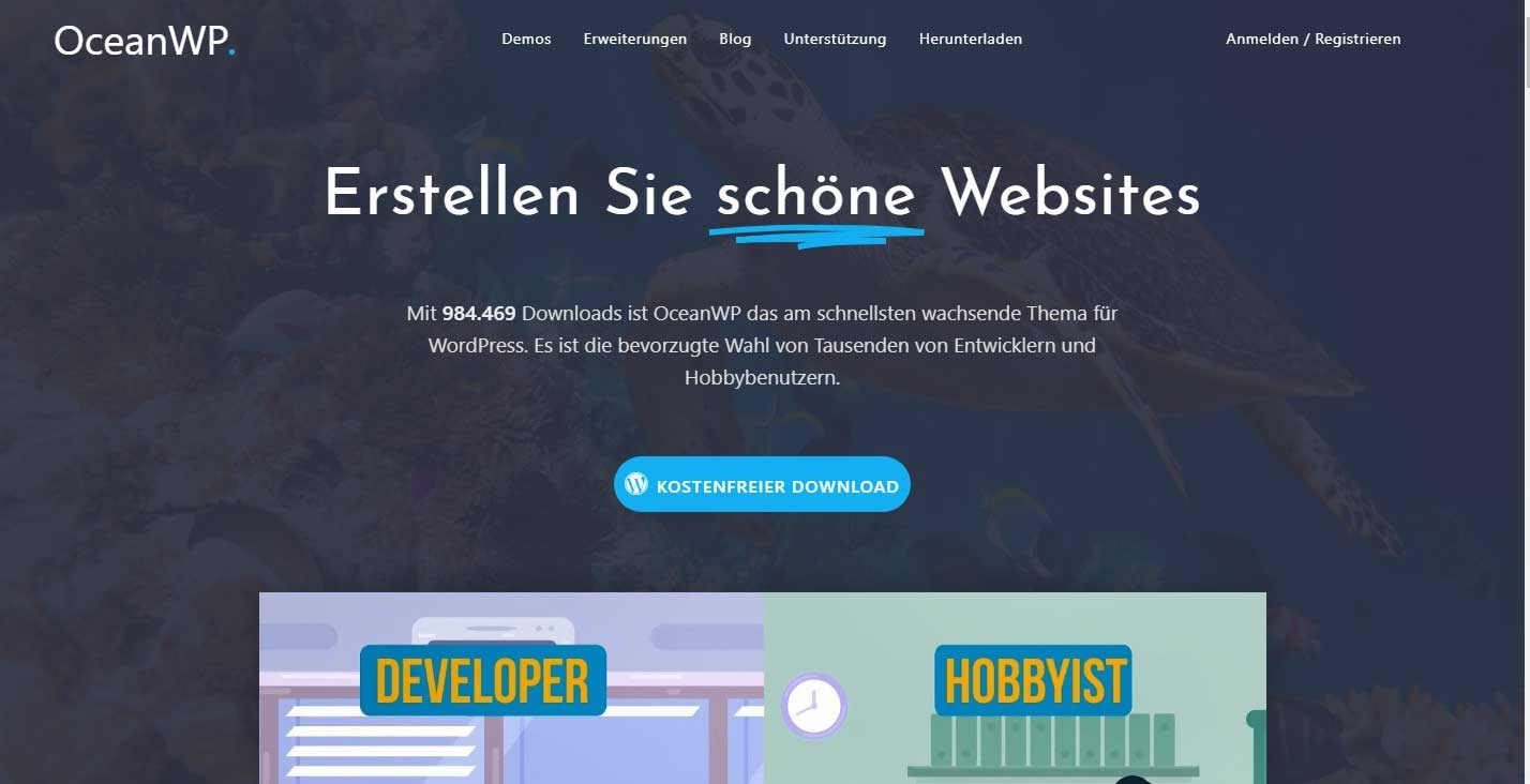 Mega WordPress Theme OceanWP in deutscher Sprache