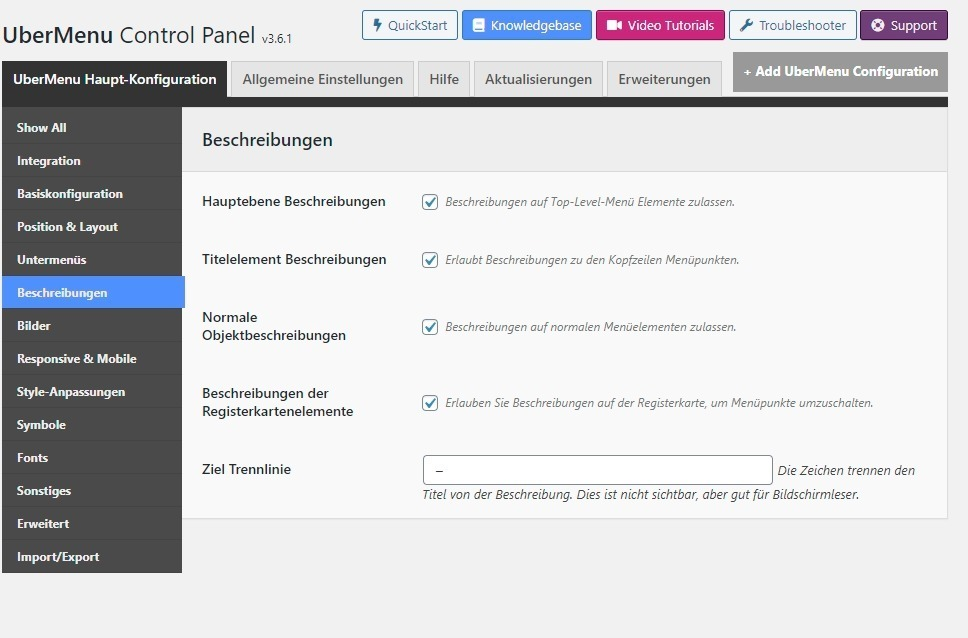 ubermenu in deutsch